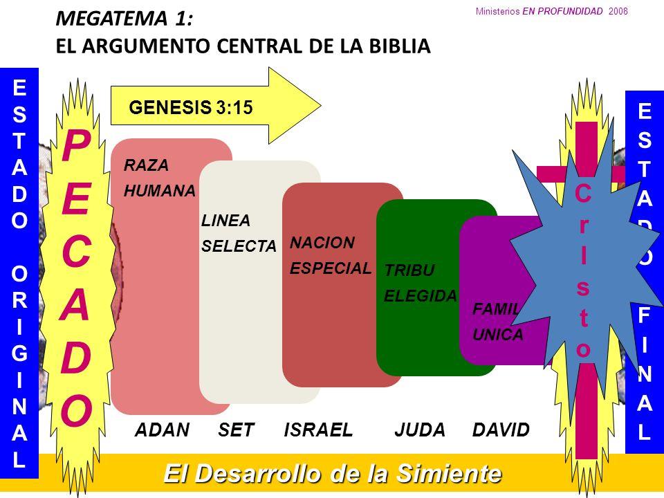 Ministerios EN PROFUNDIDAD 2008 MEGATEMA 1: EL ARGUMENTO CENTRAL DE LA BIBLIA El Desarrollo de la Simiente ESTADOORIGINALESTADOORIGINAL RAZA HUMANA LI