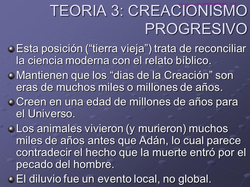 Ministerios EN PROFUNDIDAD 2008 TEORIA 4: CREACIONISMO LITERAL Esta posición (tierra joven) sostiene que la Creación ocurrió en 6 dias literales de 24 horas.