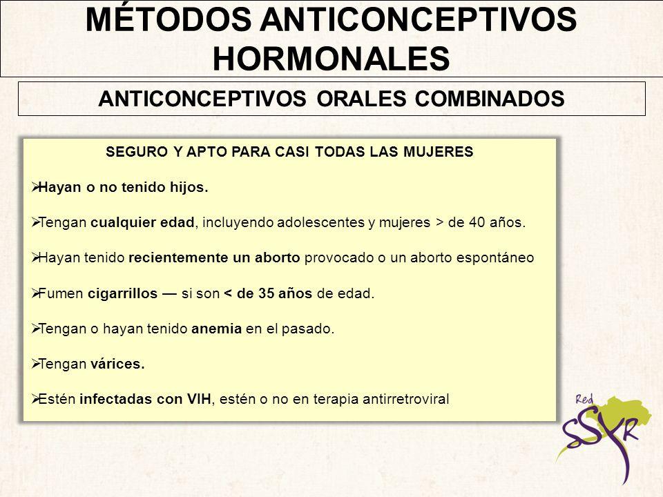 MÉTODOS ANTICONCEPTIVOS HORMONALES Las mujeres puede comenzar a utilizar AOC: Sin realizarse un examen pélvico Sin ningún análisis de sangre.