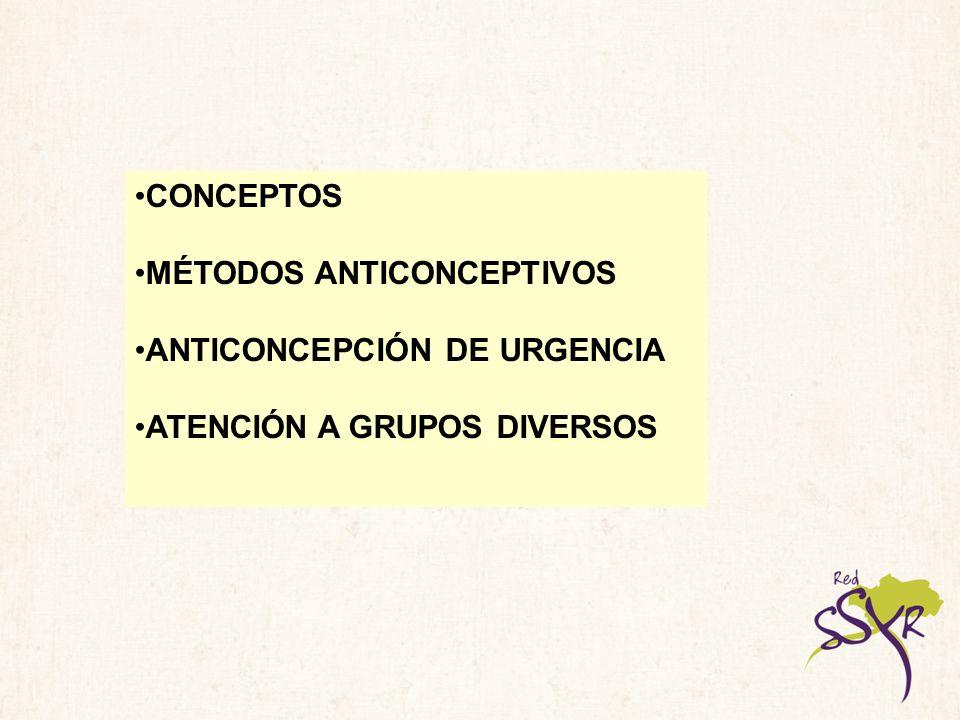 CONCEPTOS ANTICONCEPCIÓN/ANTICONCEPTIVOS FECUNDACIÓN/FECUNDIDAD FERTILIDAD/INFERTILIDAD SEXUALIDAD/ RELACIONES SEXUALES CICLO MENSTRUAL/HORMONAS OVARICAS