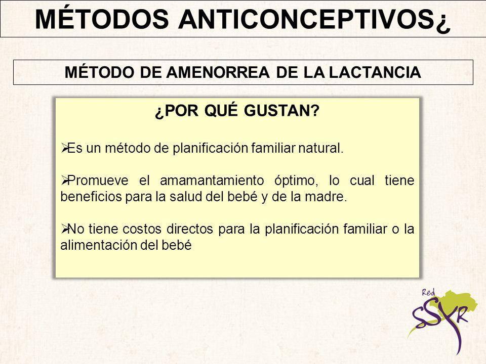MÉTODOS ANTICONCEPTIVOS CORRECCIÓN DE MALENTENDIDOS Es altamente eficaz si la mujer cumple con los 3 criterios.