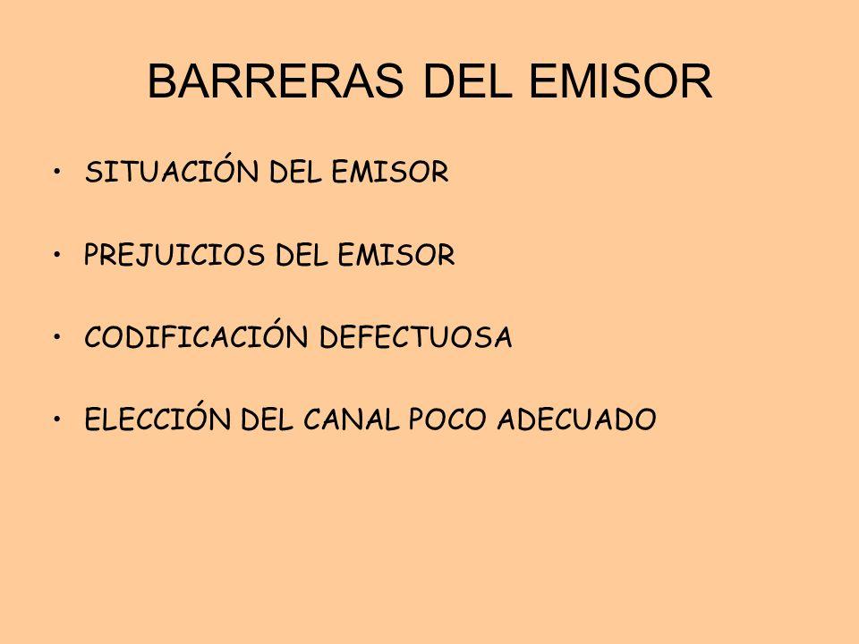BARRERAS DEL EMISOR SITUACIÓN DEL EMISOR PREJUICIOS DEL EMISOR CODIFICACIÓN DEFECTUOSA ELECCIÓN DEL CANAL POCO ADECUADO