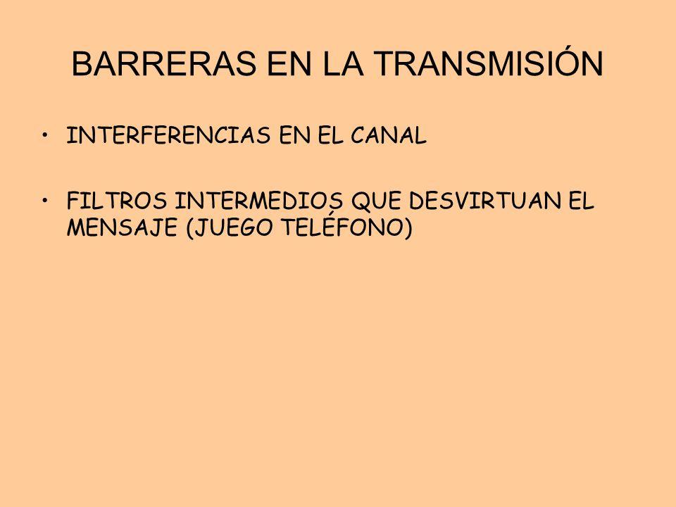 BARRERAS EN LA TRANSMISIÓN INTERFERENCIAS EN EL CANAL FILTROS INTERMEDIOS QUE DESVIRTUAN EL MENSAJE (JUEGO TELÉFONO)