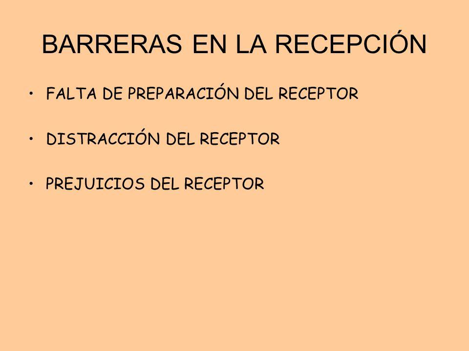 BARRERAS EN LA RECEPCIÓN FALTA DE PREPARACIÓN DEL RECEPTOR DISTRACCIÓN DEL RECEPTOR PREJUICIOS DEL RECEPTOR