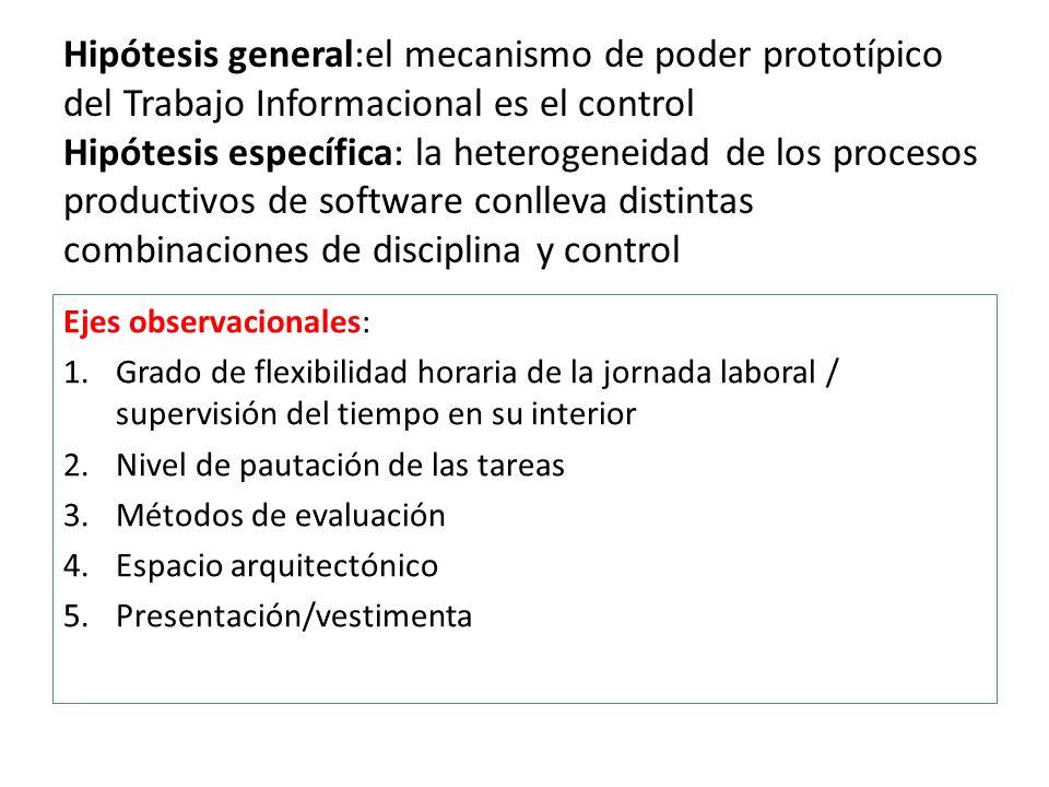 Hipótesis general:el mecanismo de poder prototípico del Trabajo Informacional es el control Hipótesis específica: la heterogeneidad de los procesos pr