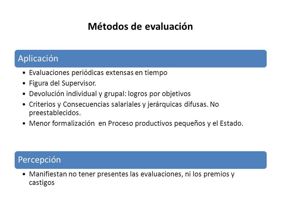 Métodos de evaluación Aplicación Evaluaciones periódicas extensas en tiempo Figura del Supervisor. Devolución individual y grupal: logros por objetivo