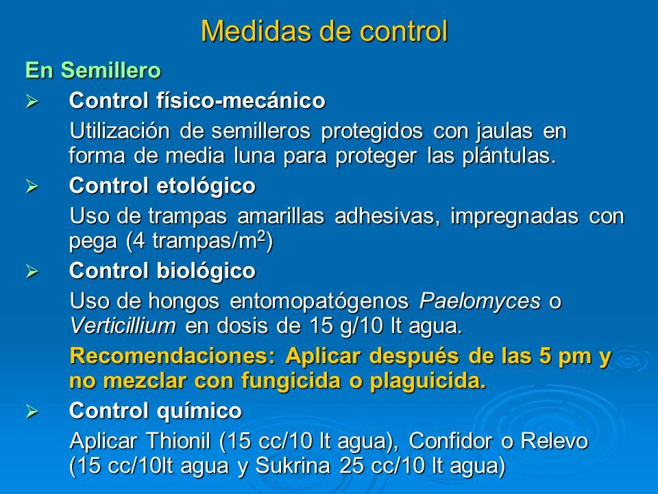 Medidas de control En Semillero Control físico-mecánico Control físico-mecánico Utilización de semilleros protegidos con jaulas en forma de media luna