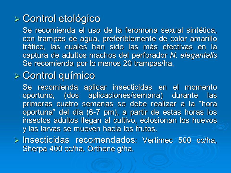 Control etológico Control etológico Se recomienda el uso de la feromona sexual sintética, con trampas de agua, preferiblemente de color amarillo tráfi