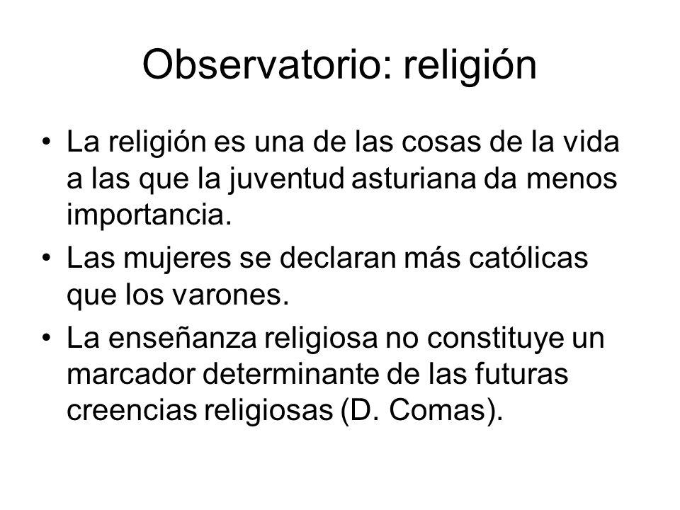 Observatorio: religión La religión es una de las cosas de la vida a las que la juventud asturiana da menos importancia. Las mujeres se declaran más ca