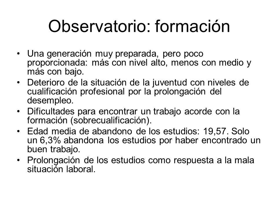 Observatorio: formación Una generación muy preparada, pero poco proporcionada: más con nivel alto, menos con medio y más con bajo. Deterioro de la sit