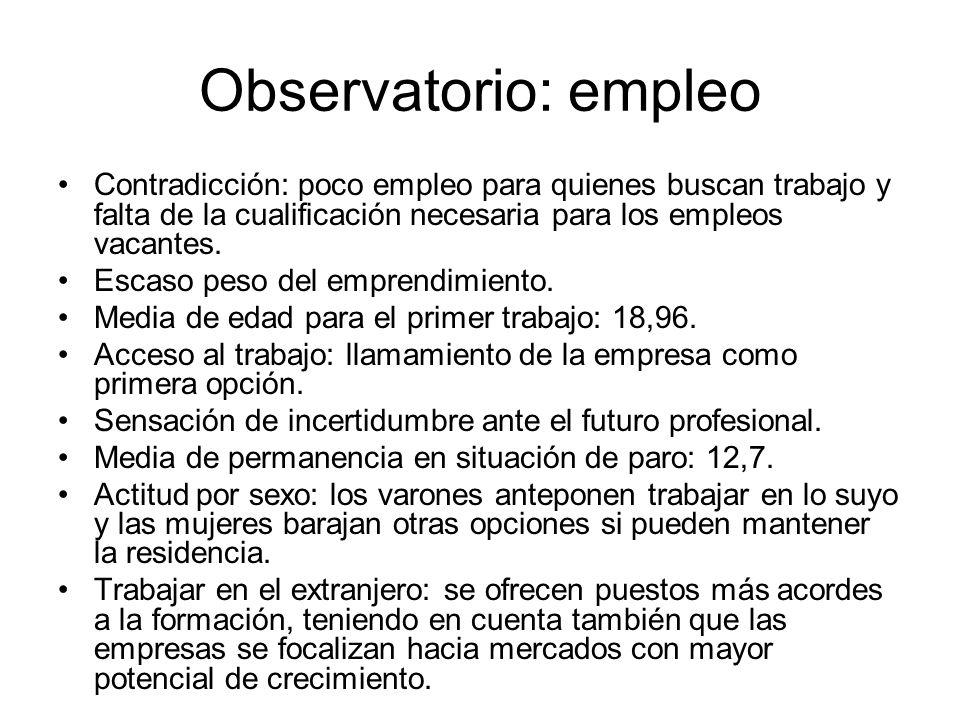 Observatorio: empleo Contradicción: poco empleo para quienes buscan trabajo y falta de la cualificación necesaria para los empleos vacantes. Escaso pe