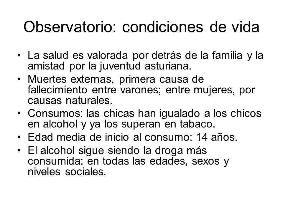 Observatorio: condiciones de vida La salud es valorada por detrás de la familia y la amistad por la juventud asturiana. Muertes externas, primera caus