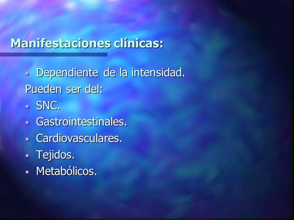 Manifestaciones clínicas: Dependiente de la intensidad. Dependiente de la intensidad. Pueden ser del: SNC. SNC. Gastrointestinales. Gastrointestinales