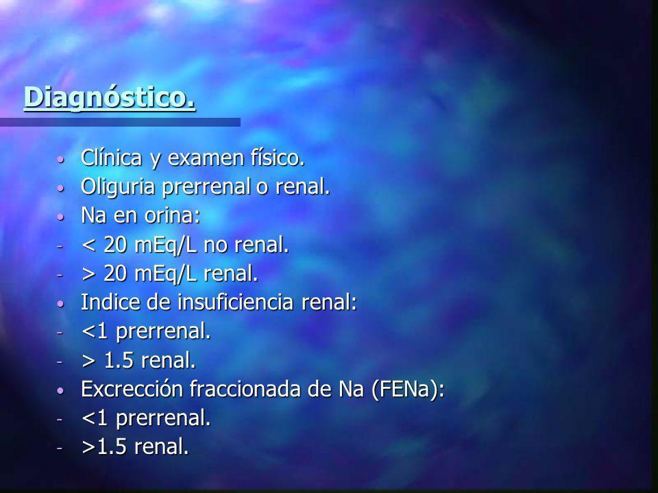 Diagnóstico. Clínica y examen físico. Clínica y examen físico. Oliguria prerrenal o renal. Oliguria prerrenal o renal. Na en orina: Na en orina: - < 2
