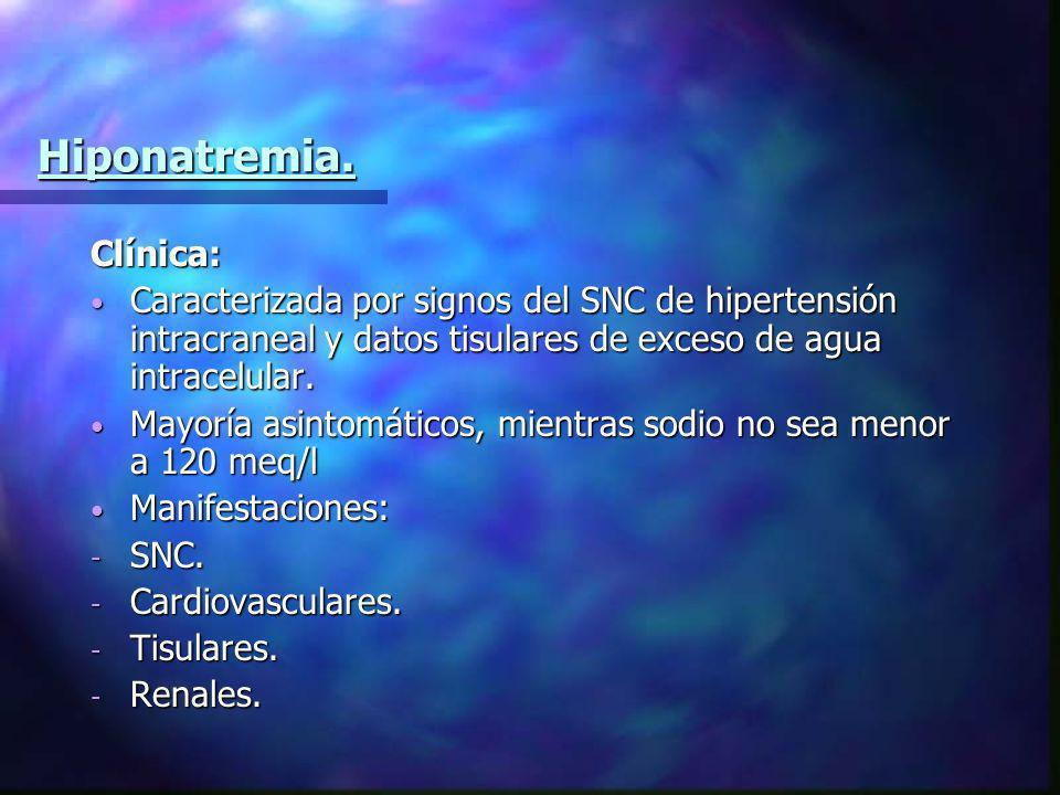 Hiponatremia. Clínica: Caracterizada por signos del SNC de hipertensión intracraneal y datos tisulares de exceso de agua intracelular. Caracterizada p
