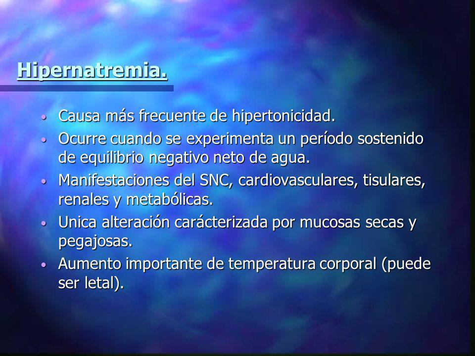 Hipernatremia. Causa más frecuente de hipertonicidad. Causa más frecuente de hipertonicidad. Ocurre cuando se experimenta un período sostenido de equi