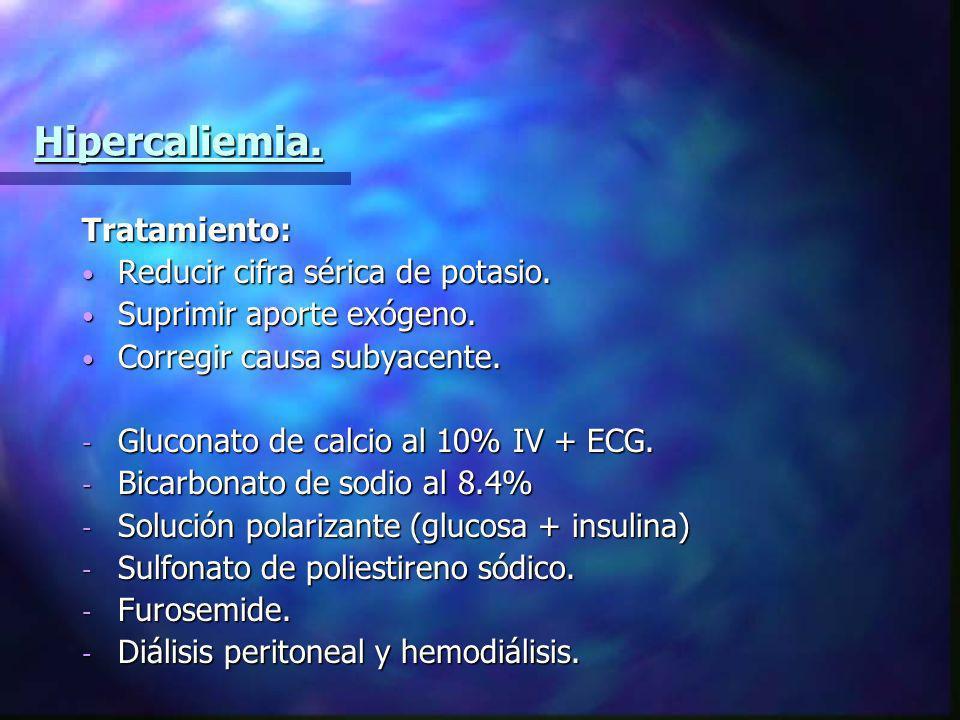 Hipercaliemia. Tratamiento: Reducir cifra sérica de potasio. Reducir cifra sérica de potasio. Suprimir aporte exógeno. Suprimir aporte exógeno. Correg