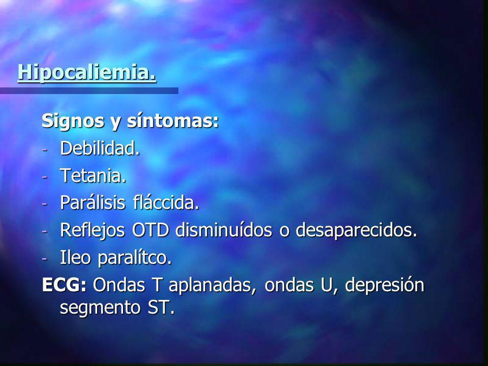 Hipocaliemia. Signos y síntomas: - Debilidad. - Tetania. - Parálisis fláccida. - Reflejos OTD disminuídos o desaparecidos. - Ileo paralítco. ECG: Onda