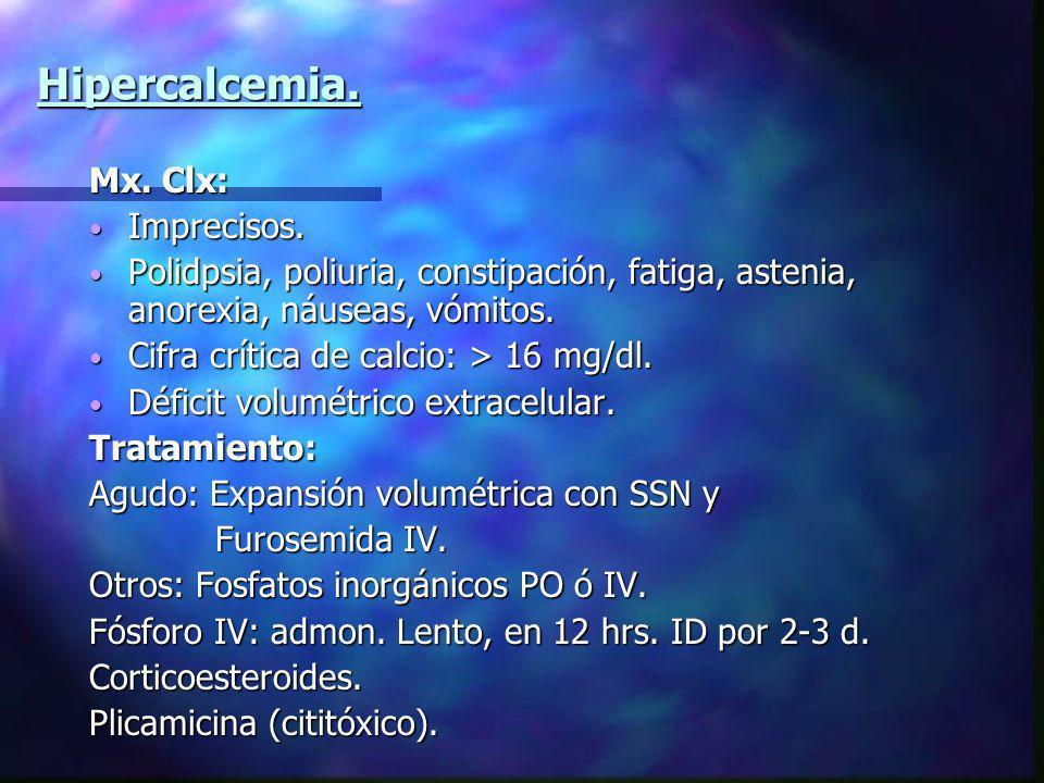 Hipercalcemia. Mx. Clx: Imprecisos. Imprecisos. Polidpsia, poliuria, constipación, fatiga, astenia, anorexia, náuseas, vómitos. Polidpsia, poliuria, c