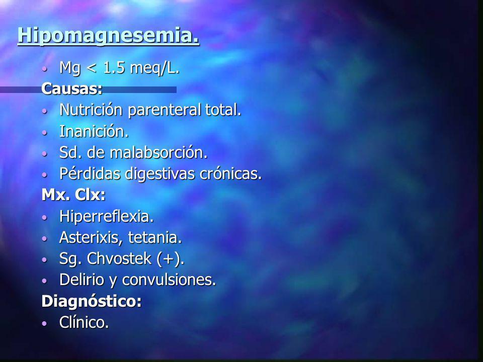 Hipomagnesemia. Mg < 1.5 meq/L. Mg < 1.5 meq/L.Causas: Nutrición parenteral total. Nutrición parenteral total. Inanición. Inanición. Sd. de malabsorci