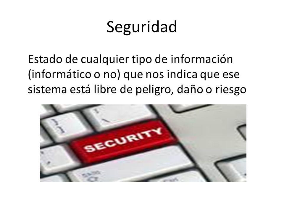Seguridad Estado de cualquier tipo de información (informático o no) que nos indica que ese sistema está libre de peligro, daño o riesgo