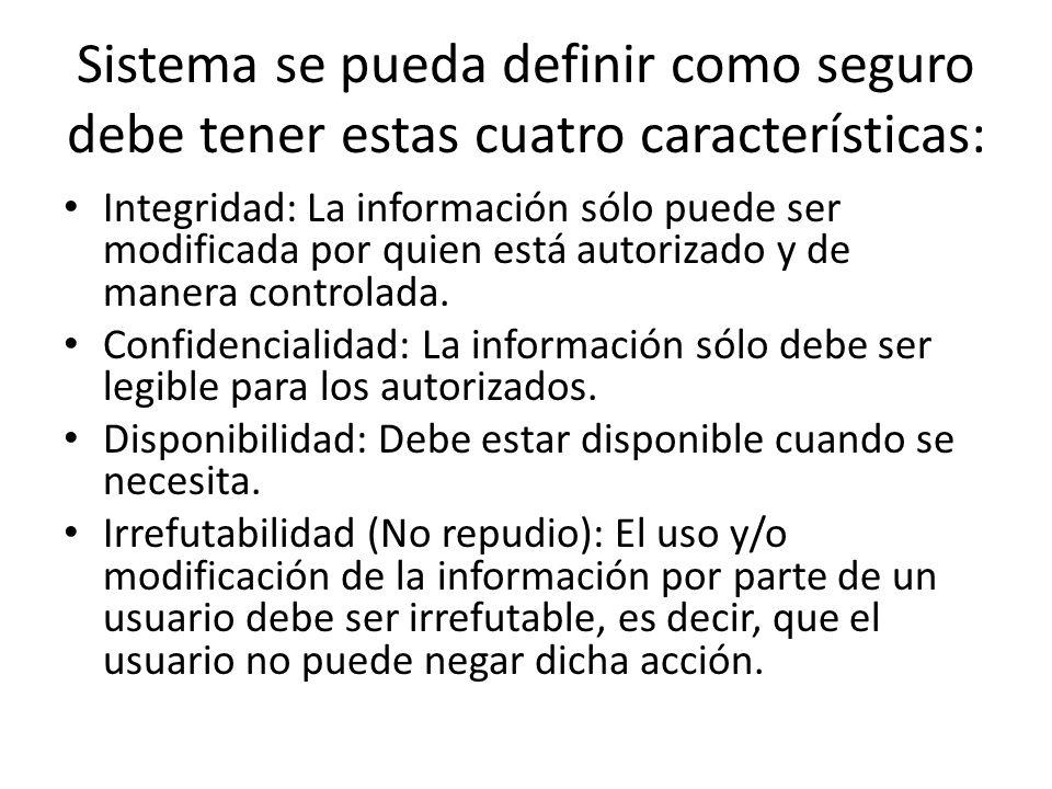 Sistema se pueda definir como seguro debe tener estas cuatro características: Integridad: La información sólo puede ser modificada por quien está auto