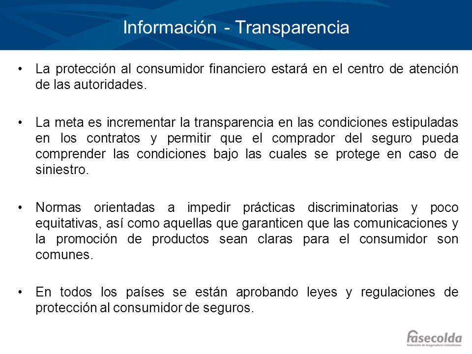 Información - Transparencia La protección al consumidor financiero estará en el centro de atención de las autoridades. La meta es incrementar la trans