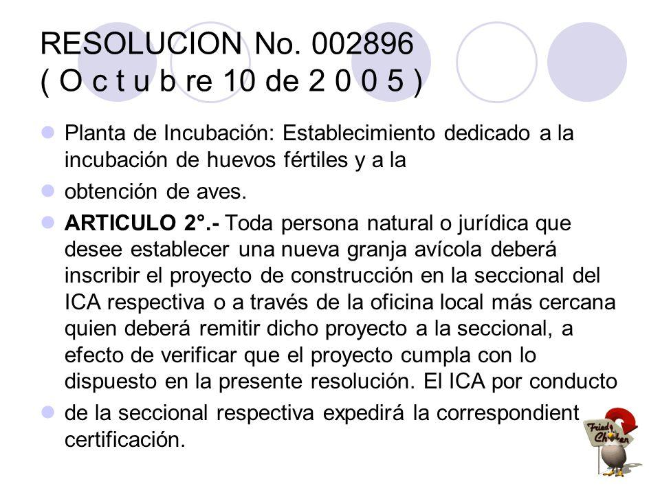 RESOLUCION No. 002896 ( O c t u b re 10 de 2 0 0 5 ) Planta de Incubación: Establecimiento dedicado a la incubación de huevos fértiles y a la obtenció