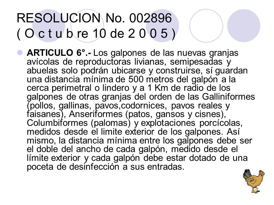 RESOLUCION No. 002896 ( O c t u b re 10 de 2 0 0 5 ) ARTICULO 6°.- Los galpones de las nuevas granjas avícolas de reproductoras livianas, semipesadas