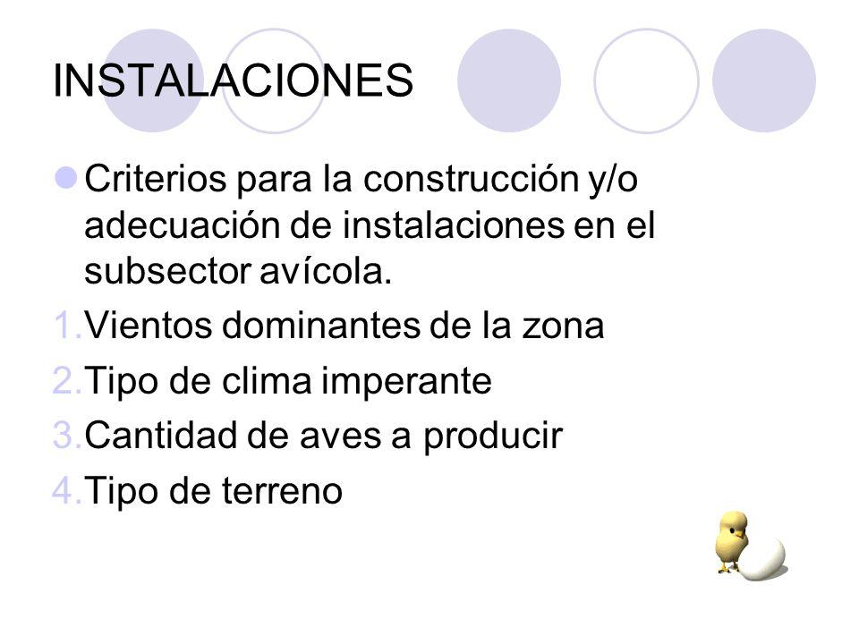 INSTALACIONES Criterios para la construcción y/o adecuación de instalaciones en el subsector avícola. 1.Vientos dominantes de la zona 2.Tipo de clima