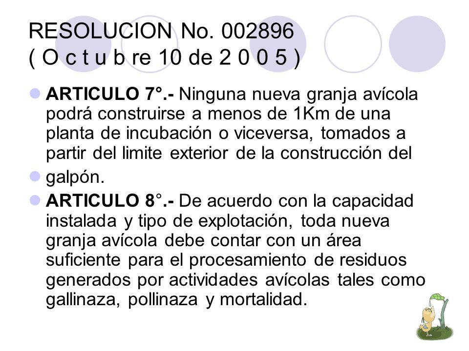 RESOLUCION No. 002896 ( O c t u b re 10 de 2 0 0 5 ) ARTICULO 7°.- Ninguna nueva granja avícola podrá construirse a menos de 1Km de una planta de incu