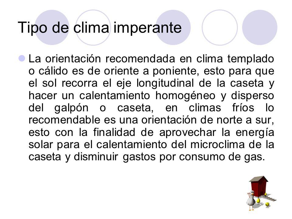 Tipo de clima imperante La orientación recomendada en clima templado o cálido es de oriente a poniente, esto para que el sol recorra el eje longitudin