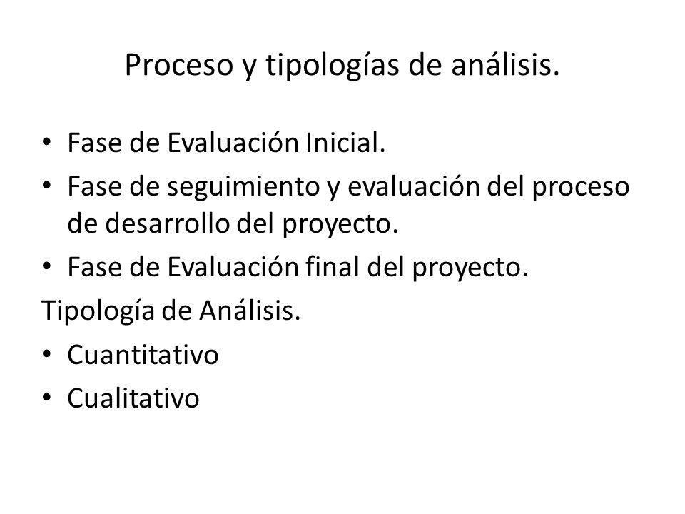 Proceso y tipologías de análisis. Fase de Evaluación Inicial. Fase de seguimiento y evaluación del proceso de desarrollo del proyecto. Fase de Evaluac