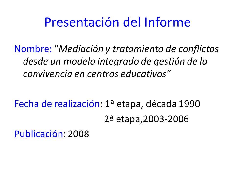 Presentación del Informe Nombre: Mediación y tratamiento de conflictos desde un modelo integrado de gestión de la convivencia en centros educativos Fe