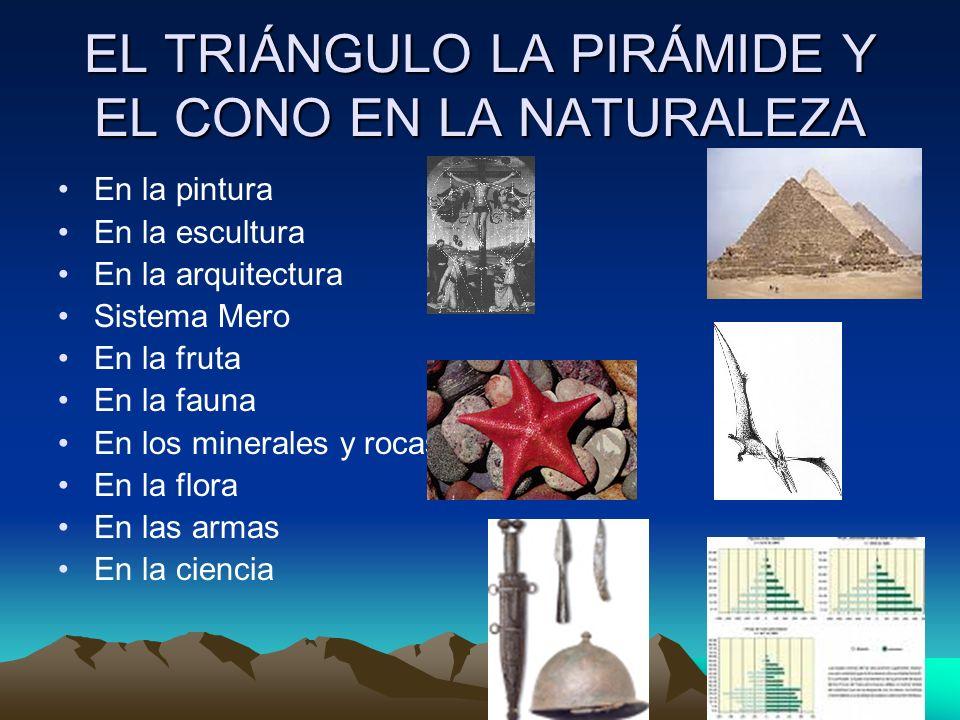 EL TRIÁNGULO LA PIRÁMIDE Y EL CONO EN LA NATURALEZA En la pintura En la escultura En la arquitectura Sistema Mero En la fruta En la fauna En los miner