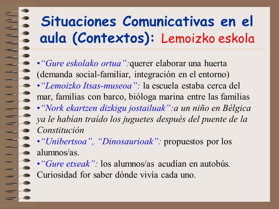 Situaciones Comunicativas en el aula (Contextos): Lemoizko eskola Gure eskolako ortua:querer elaborar una huerta (demanda social-familiar, integración