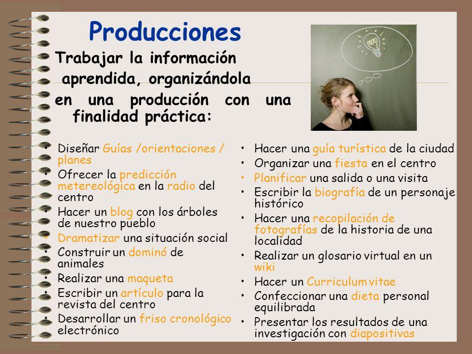 Trabajar la información aprendida, organizándola en una producción con una finalidad práctica: Producciones Hacer una guía turística de la ciudad Orga