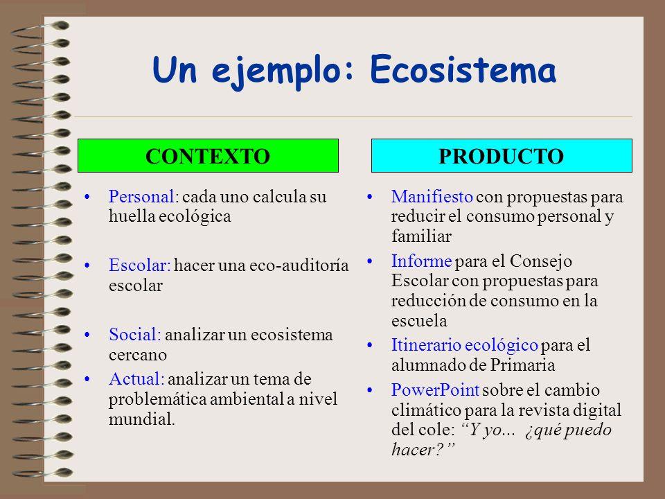 Un ejemplo: Ecosistema Personal: cada uno calcula su huella ecológica Escolar: hacer una eco-auditoría escolar Social: analizar un ecosistema cercano