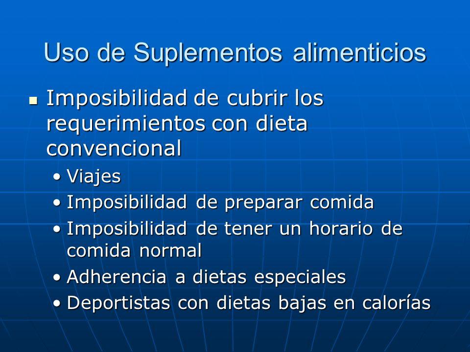 Uso de Suplementos alimenticios Imposibilidad de cubrir los requerimientos con dieta convencional Imposibilidad de cubrir los requerimientos con dieta