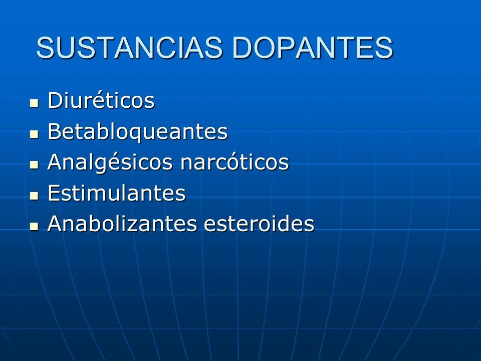 Diuréticos Diuréticos Betabloqueantes Betabloqueantes Analgésicos narcóticos Analgésicos narcóticos Estimulantes Estimulantes Anabolizantes esteroides