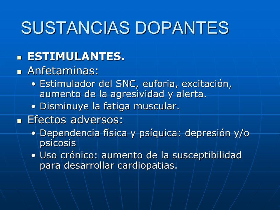 SUSTANCIAS DOPANTES ESTIMULANTES. ESTIMULANTES. Anfetaminas: Anfetaminas: Estimulador del SNC, euforia, excitación, aumento de la agresividad y alerta