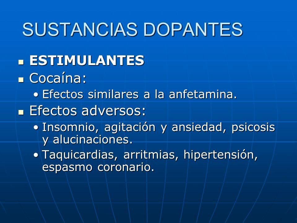 SUSTANCIAS DOPANTES ESTIMULANTES ESTIMULANTES Cocaína: Cocaína: Efectos similares a la anfetamina.Efectos similares a la anfetamina. Efectos adversos: