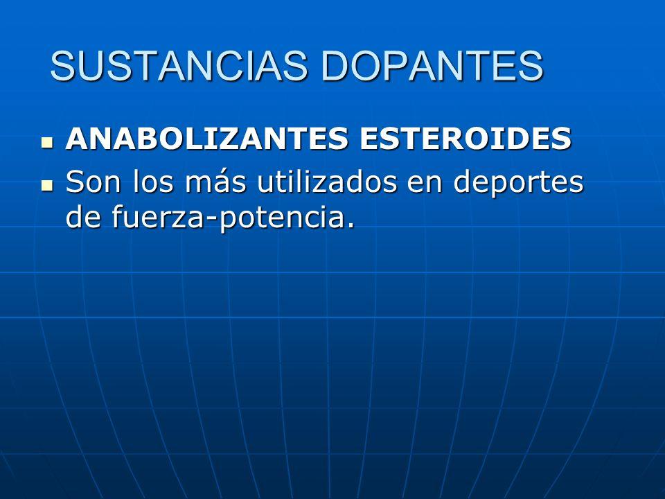 SUSTANCIAS DOPANTES ANABOLIZANTES ESTEROIDES ANABOLIZANTES ESTEROIDES Son los más utilizados en deportes de fuerza-potencia. Son los más utilizados en