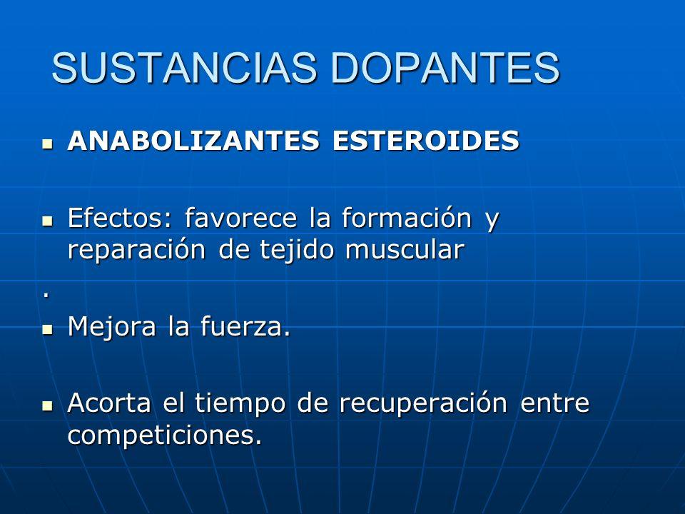 SUSTANCIAS DOPANTES ANABOLIZANTES ESTEROIDES ANABOLIZANTES ESTEROIDES Efectos: favorece la formación y reparación de tejido muscular Efectos: favorece