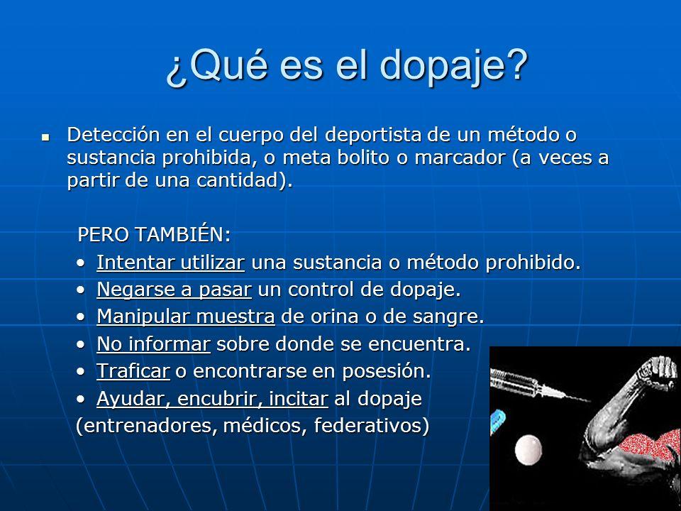 ¿Qué es el dopaje? ¿Qué es el dopaje? Detección en el cuerpo del deportista de un método o sustancia prohibida, o meta bolito o marcador (a veces a pa