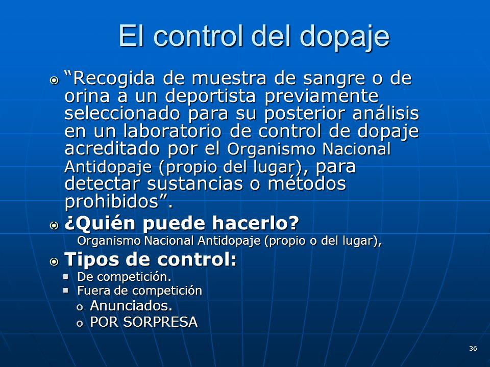 El control del dopaje El control del dopaje Recogida de muestra de sangre o de orina a un deportista previamente seleccionado para su posterior anális