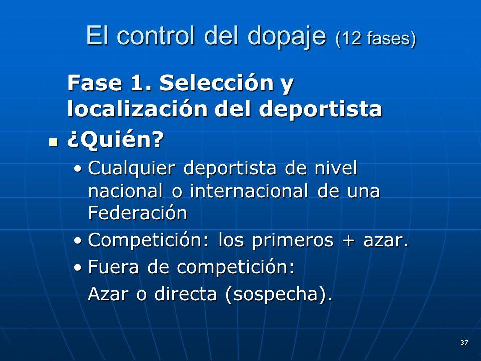 El control del dopaje (12 fases) El control del dopaje (12 fases) Fase 1. Selección y localización del deportista ¿Quién? ¿Quién? Cualquier deportista