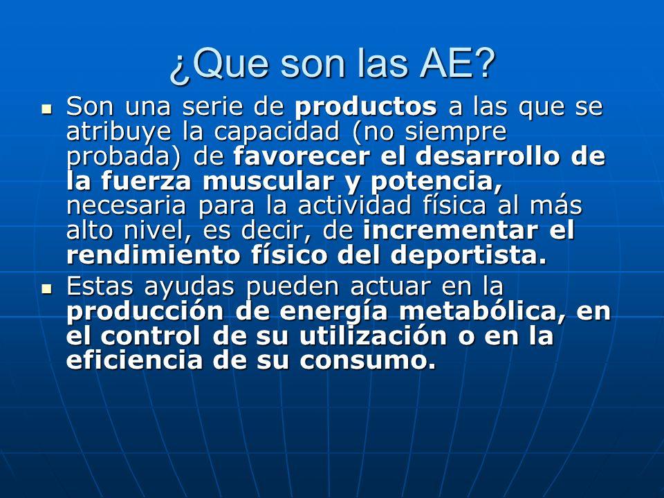 ¿Que son las AE? Son una serie de productos a las que se atribuye la capacidad (no siempre probada) de favorecer el desarrollo de la fuerza muscular y