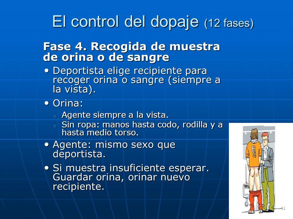 El control del dopaje (12 fases) El control del dopaje (12 fases) Fase 4. Recogida de muestra de orina o de sangre Deportista elige recipiente para re