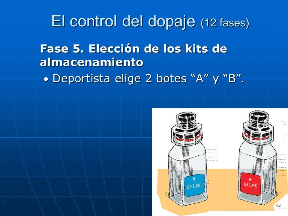 El control del dopaje (12 fases) El control del dopaje (12 fases) Fase 5. Elección de los kits de almacenamiento Deportista elige 2 botes A y B.Deport